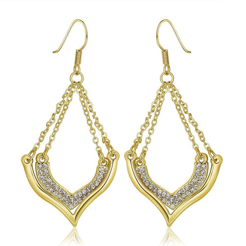 18K Gold Changelier Style Drop Down Earrings Made with Swarovksi Elements - rubiquejewelry.com
