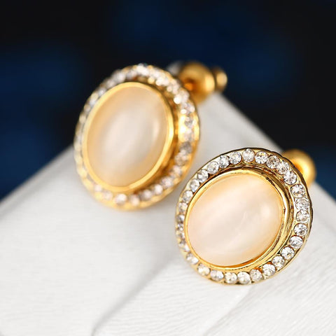 18K Gold Greek Inspired Stud Earrings Made with Swarovksi Elements - rubiquejewelry.com