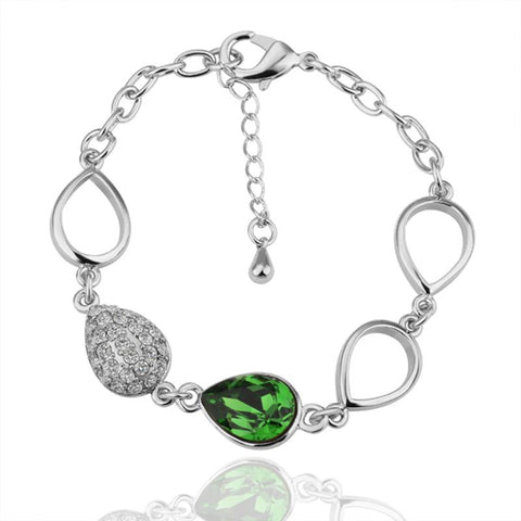 Emerald Gem 18K White Gold Bracelet with Swarovski Elements - rubiquejewelry.com