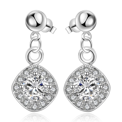 Sterling Silver Crystal Filled Pendant Classical Drop Earring - rubiquejewelry.com
