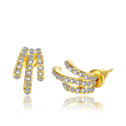 18K Gold Trio Lined Abstract Earrings Made with Swarovksi Elements - rubiquejewelry.com