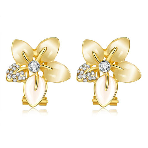 18K Gold Petal Paris Floral Petal Earrings Made with Swarovksi Elements - rubiquejewelry.com