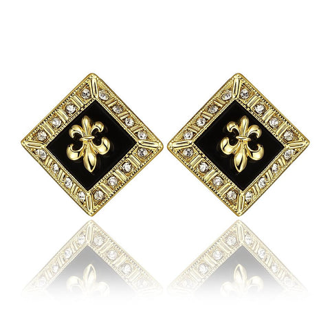 18K Gold Diamond Shaped Emblem Input Stud Earrings Made with Swarovksi Elements - rubiquejewelry.com