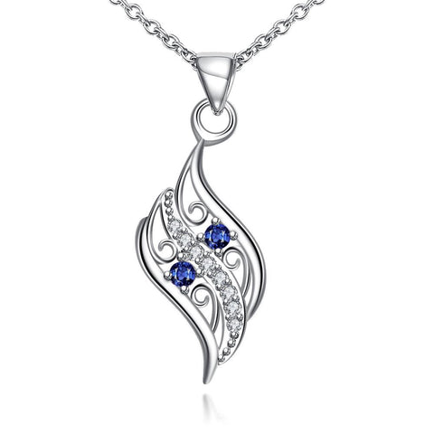 Mock Sapphire Spiral Curved Emblem Necklace - rubiquejewelry.com