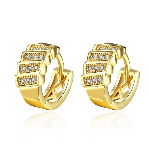 Gold Plated Horizontal Plates Mini Hoop Earrings - rubiquejewelry.com