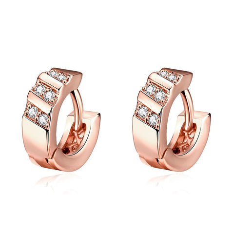 Rose Gold Plated Tiffany Classic Inspired Mini Hoop Earrings - rubiquejewelry.com