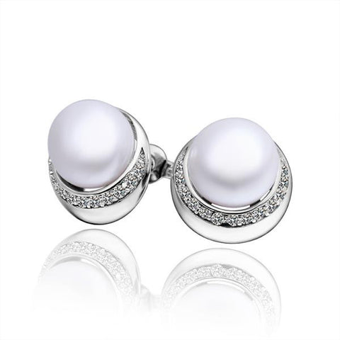 Cultured Pearl Crystal Circular Rounding Earrings - rubiquejewelry.com