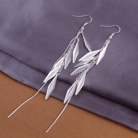 Sterling Silver Drop Plated Leaf Earring - rubiquejewelry.com