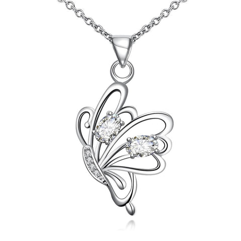 Crystal Jewels Flying Petite Butterfly Necklace - rubiquejewelry.com