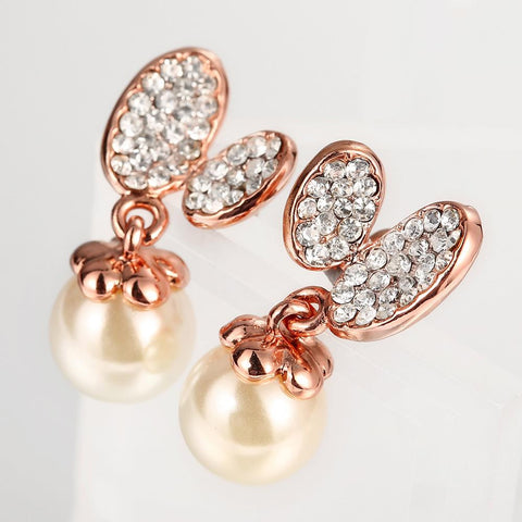 18K Rose Gold Drop Down Earrings with Pearl Made with Swarovksi Elements - rubiquejewelry.com