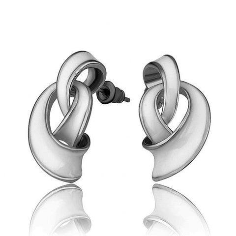 18K White Gold Abstract Intertwined Ivory Drop Down Earrings Made with Swarovksi Elements - rubiquejewelry.com