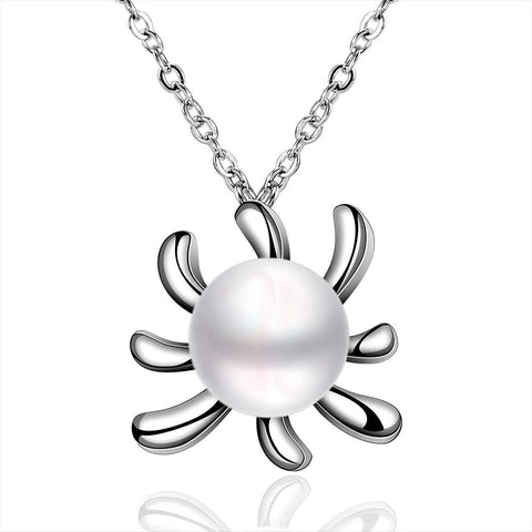 White Gold Plated Cultured Pearl Blossoming Orchid Necklace - rubiquejewelry.com
