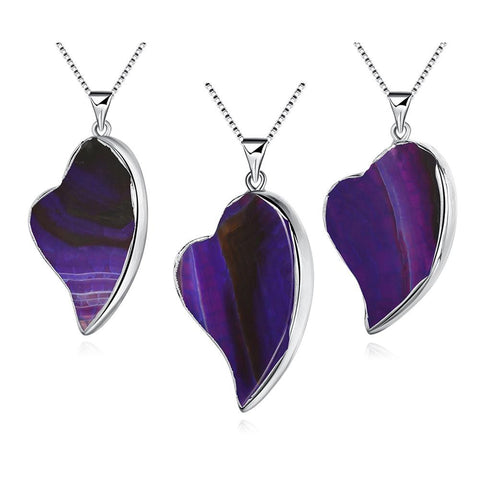 Amethyst Petite Heart Natural Agate Necklace - rubiquejewelry.com