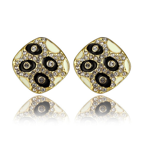 18K Gold Petite Stud Earrings with Onyx Gems Made with Swarovksi Elements - rubiquejewelry.com