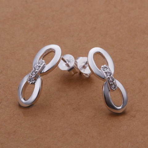 Sterling Silver Duo-Oval Shaped Stud Earring - rubiquejewelry.com