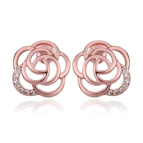 18K Rose Gold Hollow Floral Petal Stud Earrings Made with Swarovksi Elements - rubiquejewelry.com