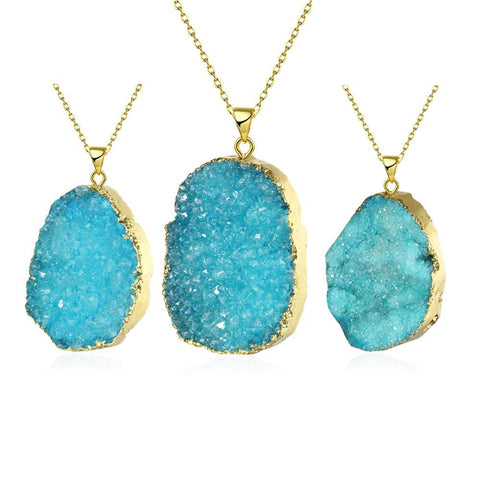 Aquamarine Geometric Natural Crystal Necklace - rubiquejewelry.com