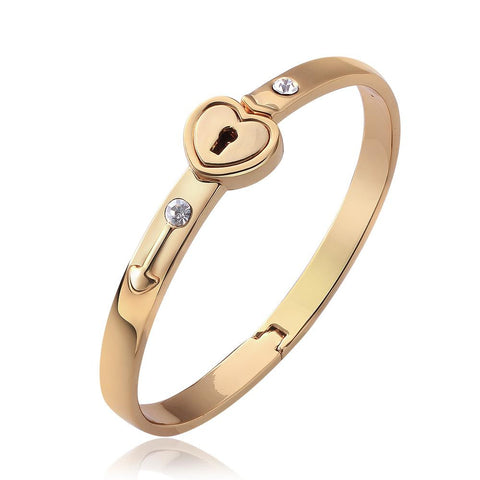 "18K Gold ""The Key To My Heart"" Bangle with Swarovski Elements - rubiquejewelry.com"