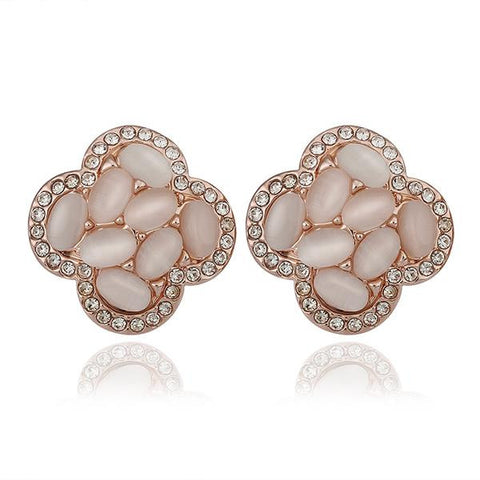 18K Rose Gold Clover Shaped Natural Gemstones Stud Earrings Made with Swarovksi Elements - rubiquejewelry.com