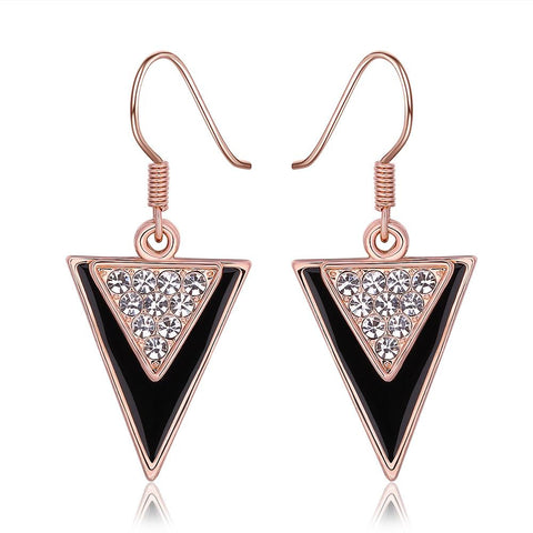 18K Rose Gold Downwards Triangular Drop Down Earrings Made with Swarovksi Elements - rubiquejewelry.com