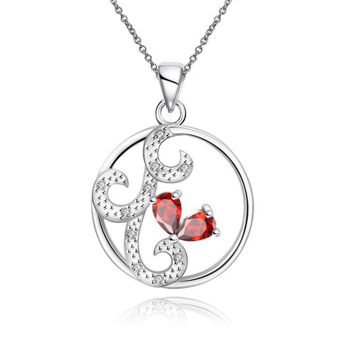 Ruby Red Swirl Design Pendant Drop Necklace - rubiquejewelry.com