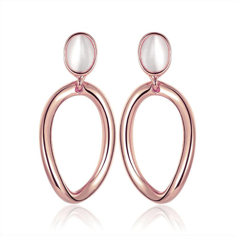18K Rose Gold Hoop Earrings with Pearl Gem Made with Swarovksi Elements - rubiquejewelry.com
