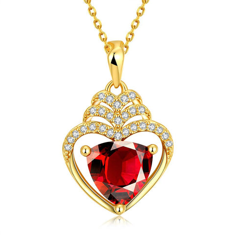 Gold Plated Hollow Heart with Ruby Gem Necklace - rubiquejewelry.com