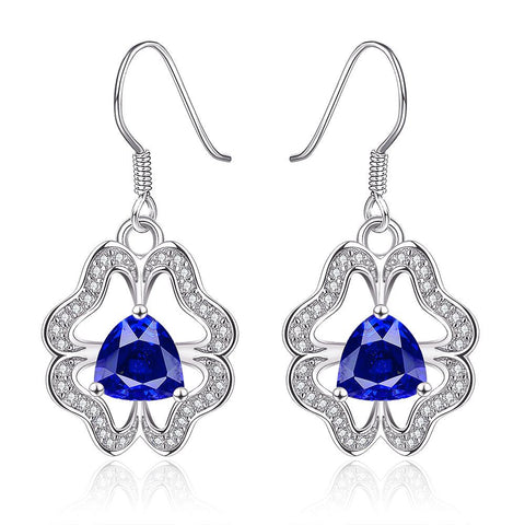 18K White Gold Abstract Drop Down Earrings with Saphire Centerpiece Made with Swarovksi Elements - rubiquejewelry.com