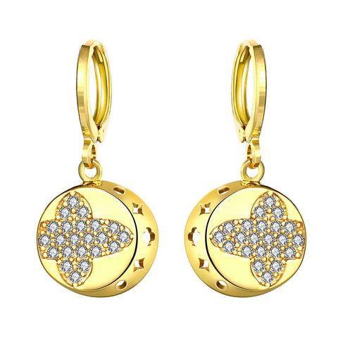 Gold Plated Mini Cross Circular Drops - rubiquejewelry.com