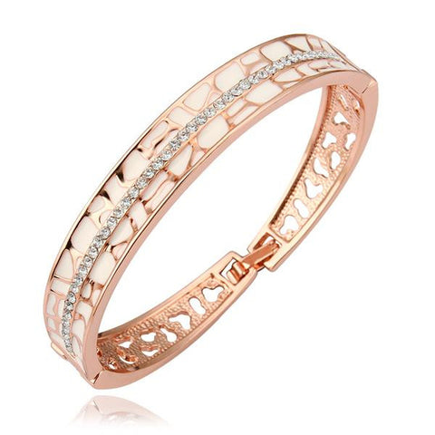 18K Gold Ingrained Bangle with Swarovski Elements - rubiquejewelry.com