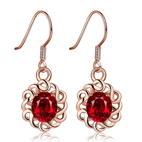 18K Rose Gold Mini Ruby Gem Drop Down Earrings Made with Swarovksi Elements - rubiquejewelry.com