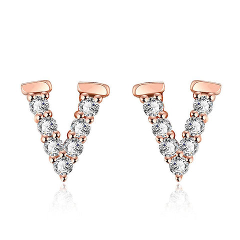 Rose Gold Plated V Love Studs - rubiquejewelry.com