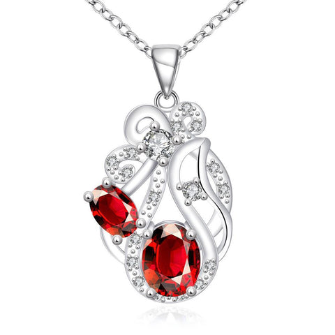 Duo Ruby Red Floral Spiral Pendant Drop Necklace - rubiquejewelry.com
