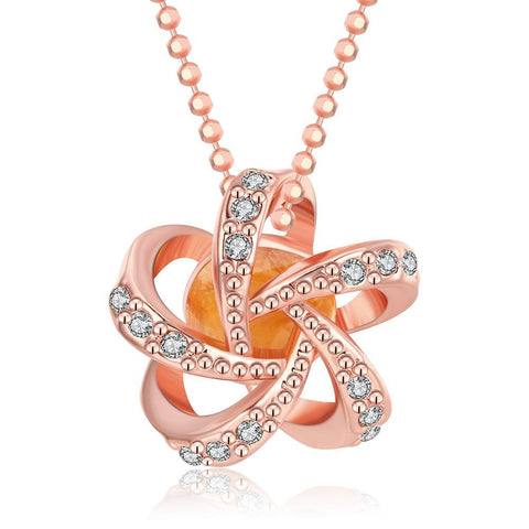 18K Rose Gold Plated Swirl of FireNecklace - rubiquejewelry.com