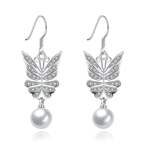 White Gold Wings of an Angel Drop Down Earrings - rubiquejewelry.com