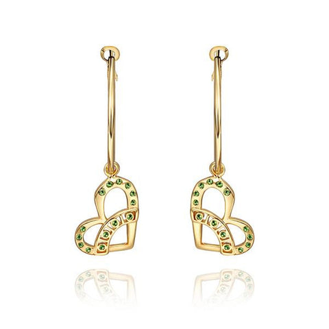 18K Gold Hollow Hearts Drop Down Earrings Made with Swarovksi Elements - rubiquejewelry.com