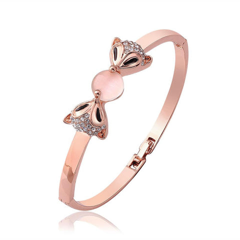 18K Gold Cute Bunnies Bangle with Swarovski Elements - rubiquejewelry.com