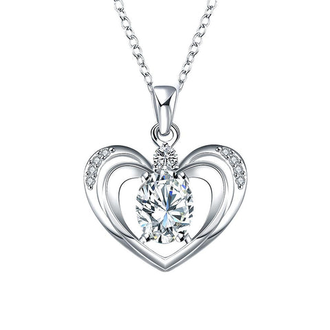 Crystal Jewels Hollow Hearts Drop Necklace - rubiquejewelry.com