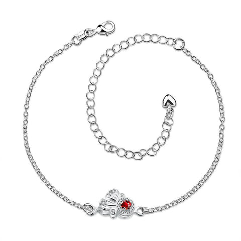 Petite Ruby Red Gem Floral Anklet - rubiquejewelry.com