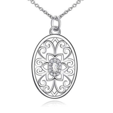 Floral Laser Cut Design Pendant Drop Necklace - rubiquejewelry.com