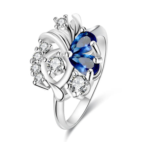 Duo-Mock Sapphire Floral Crystal Petite Ring - rubiquejewelry.com
