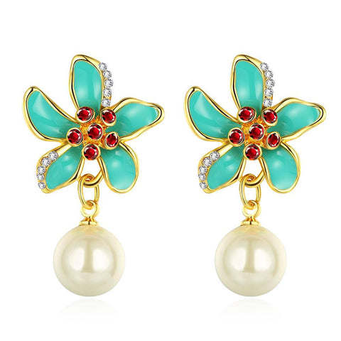 18K Gold Aqua Floral Petals Drop Down Earrings Made with Swarovksi Elements - rubiquejewelry.com