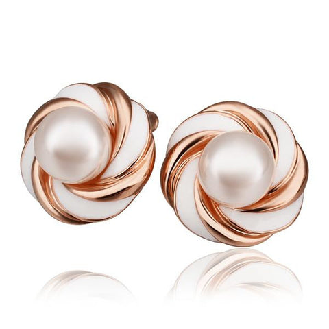 18K Rose Gold Intertwined Love Knot Stud Earrings Made with Swarovksi Elements - rubiquejewelry.com