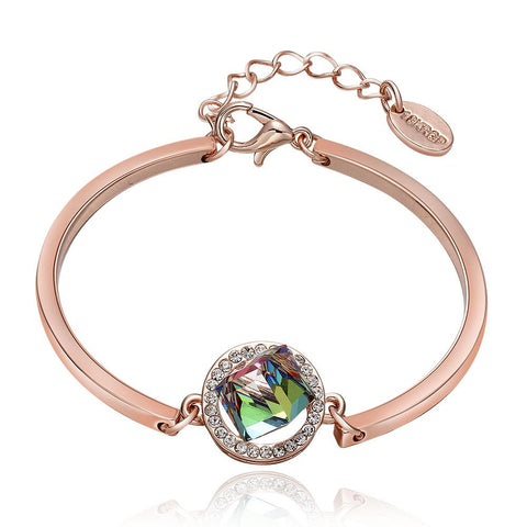 18K Rose Gold Emerald Emblem Bracelet with Swarovski Elements - rubiquejewelry.com