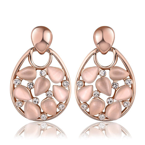 18K Rose Gold Hollow Drop Down Earrings with Ivory Inlay Made with Swarovksi Elements - rubiquejewelry.com