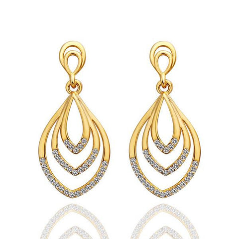 18K Gold Hollow Spiral Drop Down Earrings Made with Swarovksi Elements - rubiquejewelry.com