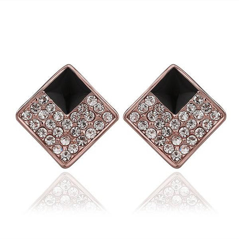 18K Rose Gold Diamond Shaped Stud Earrings with Onyx Layering Made with Swarovksi Elements - rubiquejewelry.com
