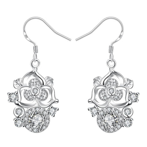 Petite Crystal Stone Gem Blossoming Clover Drop Earrings - rubiquejewelry.com