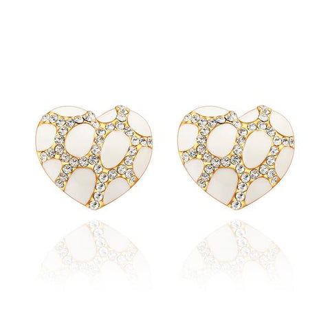 18K Gold Heart Shaped Ivory Gem Stud Earrings Made with Swarovksi Elements - rubiquejewelry.com
