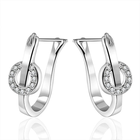 Sterling Silver U Shaped Crystal Hoops - rubiquejewelry.com